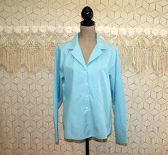 Light Blue Shirt Button Up Blouse Long Sleeve Top by MagpieandOtis