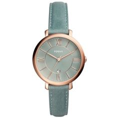 Fossil  Women's Jacqueline Sage Green Leather Watch ($60) ❤ liked on Polyvore featuring jewelry, watches, sage green, green watches, fossil wrist watch, leather watches, fossil watches and green jewelry
