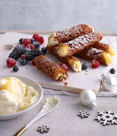Brandy snaps with lemon cream and berries recipe - -You can find Lemon and more on our website.Brandy snaps with lemon cream and berries recipe - - Xmas Food, Christmas Cooking, Christmas Desserts, Christmas Recipes, Christmas Lunch Ideas, Recipe For Brandy Snaps, Brandy Recipe, Aussie Christmas, Australian Christmas Food
