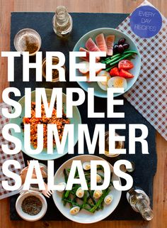 Three Simple Summer Salads: Nicoise Salad, Southwest Pearled Couscous Salad, and Grilled Asparagus and Deviled Eggs, from Spoon Fork Bacon Easy Summer Salads, Summer Salad Recipes, Simple Salads, Summer Treats, Healthy Choices, Healthy Life, Healthy Living, Real Food Recipes, Cooking Recipes