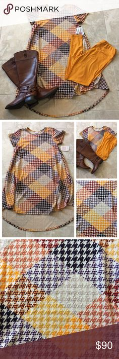 LuLaRoe Fall Patterned Carly & Leggings Carly in fall unicorn print   , size medium, NWT. Mustard leggings, size TC, made in China, NWOT (never worn, never tried in). Sold as a set. LuLaRoe Other