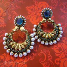 Chand Bali style Earrings - BLUE