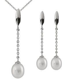 White Pearl & Sterling Silver Pendant Necklace & Earrings #zulily #zulilyfinds