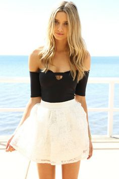 cute skirt with simple yet interestingly cut shirt