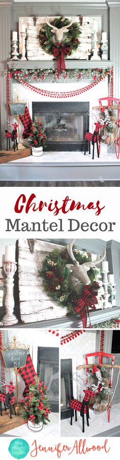 Christmas Mantel Decorating Ideas | Magic Brush | Using glittered deer head figurine, holly, tartan / buffalo check decor, read beads and more for a festive holiday mantel and Christmas Decor