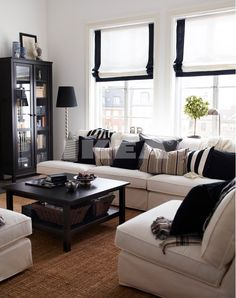 The use of the space is great and the little pops of black everywhere give this whole room a very elegant look.