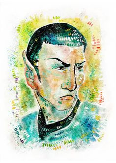 Mr. Spock Watercolor Illustration 5 x 7 Art by LemonWatercolor on Etsy #startrek #tos #fanart