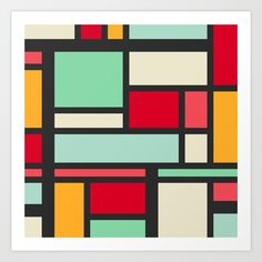 Mondrian Art Print by orcevasilev Modern Art Artists, Mondrian Art, Collage, Chill, Art Prints, Gifts, Shapes, Art Impressions, Collages