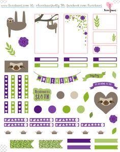 freebie: sloth Printable Planner Stickers