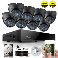 Funlux 8CH 960H DVR Security System P2P QR-Code Connection 8 Day Night 600TVL Vandalproof Dome Cameras CCTV Surveillance System 1TB Hard Drive