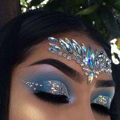 Gem Makeup, Jewel Makeup, Rave Makeup, Makeup Goals, Exotic Makeup, Cheer Makeup, Makeup Geek, Makeup Tips, Mermaid Fantasy Makeup