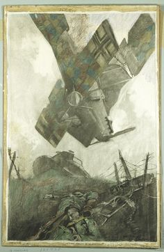 George Matthews Harding. Boche Plane Falling in No Man's Land of Verdun Offensive.  WWI. Charcoal, pastel, and crayon on heavy textured wove paper.