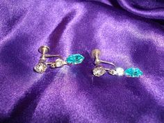 'Aquamarine & CZ Screwback Earrings' is going up for auction at 10pm Sat, Dec 15 with a starting bid of $5.
