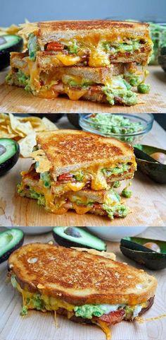 guacamol grill, guacamole recipes, cook, bacon guacamole grilled cheese, grilled cheese sandwiches, delici, chees sandwich, grilled cheeses, grill chees
