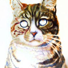 Spooky progress pic.  #realism #oilpainting #petportrait #spooky #wip #scaryart #catsofinstagram #paintingwithatwist #cat_features #art #artist #oilonlinen #fineart #workinprogress #portrait #catlovers #catart #figurative #scarycat #nightmare #scary by colossal_portraits