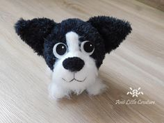 Ami Little Creature: Peter the Dog - The Cool Gang (Fajniaki) FREE PATTERN Crochet Eyes, Head Pins, Cute Owl, Crochet Hooks, Crochet Projects, Free Pattern, Creatures, Teddy Bear, Black And White