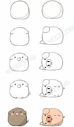 Xu (xu) Dog Hai (hai) from pig . Cute Easy Drawings, Cute Kawaii Drawings, Cute Animal Drawings, Cute Animals To Draw, Kawaii Doodles, Cute Doodles, Doodle Art For Beginners, Bullet Journal Art, Simple Doodles