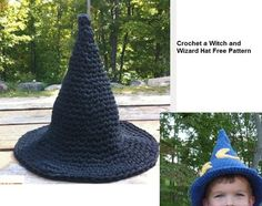 Free crochet witch and wizard hat pattern for Halloween