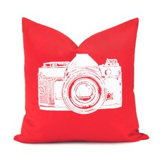 Red and white decorative pillow case  White by ClassicByNature, $30.00