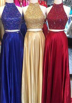 two piece prom dress, long prom dress, 2017 prom dress, royal blue prom dress, yellow prom dress, red prom dress