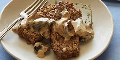 Meatless Meatloaf with Mushroom Gravy : Vegetarians can now enjoy this classic comfort dish. Starring tofu and eggplants, this meatless meatloaf is as satisfying as the orginal. Finish it off with a rich mushroom gravy. Mushroom Meatloaf, Mushroom Gravy, Vegetarian Recipes, Cooking Recipes, Healthy Recipes, Healthy Meals, Veggie Meals, Vegetarian Options, Healthy Chicken
