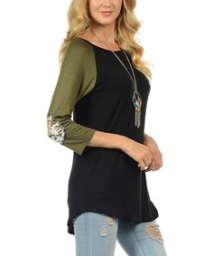 This Black & Olive Elbow-Patch Raglan Tunic is perfect! #zulilyfinds