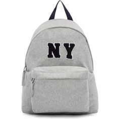 Joshua Sanders Grey Jersey NY Backpack found on Polyvore featuring bags, backpacks, backpack, gray bag, grey bag, zip handle bags, gray backpack and initial bags
