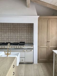 giannetti home - white and wood kitchen, kitchen design, raw wood, brass accents, patterned tile backsplash, clean simple lines
