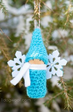 crochet gnome with fairy wings ornament. www.1dogwoof.com