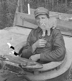 A Finnish crew member of a StuG III assault gun with his cat. Warring States Period, Military Working Dogs, German Uniforms, Portraits, Korean War, Panzer, Service Dogs, Vietnam War, World War Ii
