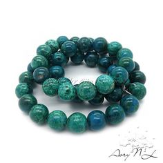 Genuine Eilat Stone Beads Blue and Green Colors 47 Beads by AoryNL