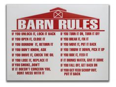 "18"" x 24"" Barn rules sign CLEARANCE This is a Closeout/Discontinued item. Sizes…"