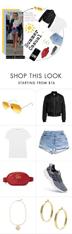 """""""Hailey Baldwin: Summer Casual"""" by visiondirect ❤ liked on Polyvore featuring Ray-Ban, Sans Souci, T By Alexander Wang, Levi's, Gucci, adidas, Givenchy, Mondevio, sunglasses and sunnies"""