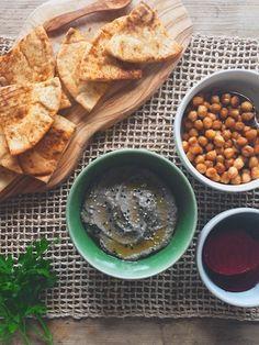 Smoky charred eggplant baba ganoush at feedmedearly.com | Greek yogurt, lemon, black tahini paste, sesame seeds, olive oil, garlic | CSA, vegetarian