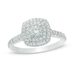 Zales: 3/4 CT. T.W. Diamond Double Square Frame Engagement Ring in 14K White Gold