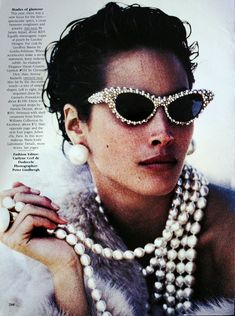 """I own these sunglasses! My best friend who passed away made these Barbara Groeger. I have some photos I'll post of them later Boudoir Queen Vogue US December 1989""""Star Turns"""" Model: Christy Turlington Photographer: Peter Lindbergh Stylist: Carlyne Cerf de Dudzeele #sunglasses"""