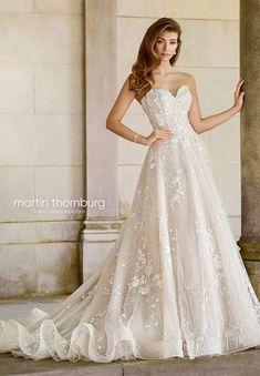 martin thornburg mon cheri spring 2018 bridal strapless sweetheart beaded bodice a line lace wedding dress (118281 coda) mv elegant romantic -- Spring 2018 Wedding Dresses from Mon Cheri Bridals