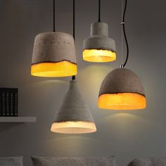 Loomier Mini Concrete Light Shade Wire Suspended Pendant Light – Lighting - All For Decoration Rustic Pendant Lighting, Pendant Light Fixtures, Light Pendant, Funky Lighting, Task Lighting, Pendant Lamps, Concrete Light, Concrete Lamp, Ceiling Hanging