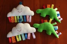 Cloud and Dinosaur taggie toys by Twenty Cent Mixture, via Flickr