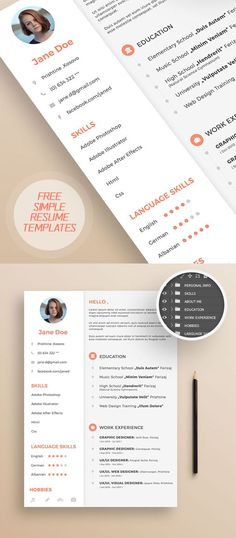 Freebie Simple Resume Template with Cover Letter #cleanresume