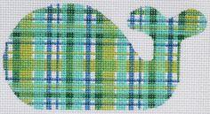 Mini whale - madras - blues & greens