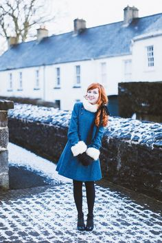 The Clothes Horse Outfit: The Blue Winter Coat And A Sprinkling Of Snow Winter Outfits, Cool Outfits, Casual Outfits, Fashion Outfits, Fashion Women, Popular Outfits, Emo Fashion, Zooey Deschanel, Taylor Swift