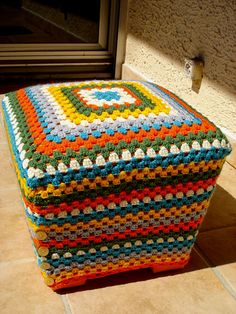 granny ottoman-I have the perfect ottomans to cover with this.