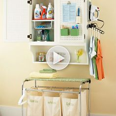 Get 12 fast and easy ways to oraganize your laundry storage here: http://www.bhg.com/videos/m/33743629/streamline-laundry-storage.htm?socsrc=bhgpin091312videolaundrystorage