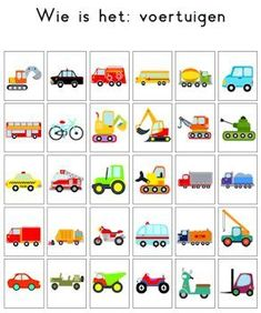 Wie is 't Kindergarten, Transportation Theme, Memory Games For Kids, School Themes, Speech And Language, Kids Education, Pre School, Preschool Activities, Crafts For Kids