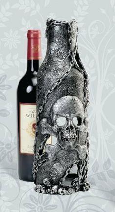 Pirate Skull Bottle Holder-nautical bar items . $29.99