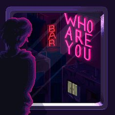 vaporwave graphism Who are you Sticker by Erien - White - Cyberpunk Aesthetic, Cyberpunk City, Aesthetic Gif, Aesthetic Pictures, Vaporwave Anime, Pixel Gif, Arte 8 Bits, Space Opera, Pixel Animation