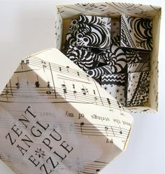 art in red wagons: zentangle puzzle in an origami box