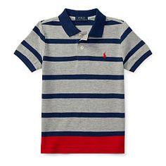 704b6ccf1 Striped Cotton Mesh Polo Shirt - Boys 2-7 Short Sleeve - RalphLauren.com