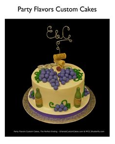 Wine themed cake in buttercream